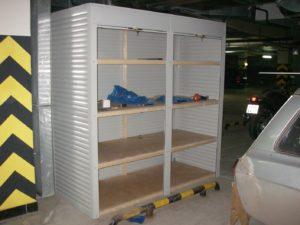 Шкафы с рольставнями на подземной парковке